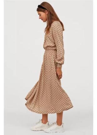Платье из вискозы миди, макси в горошек
