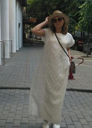 Белое льняное платье от blue cat label