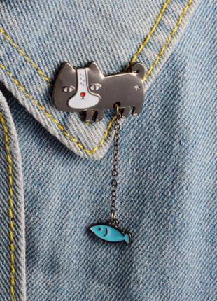 Большой выбор! стильный пин кот рыбка кошка рыба брошь значок брошка