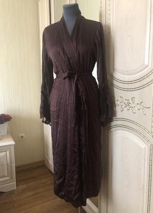 Роскошный длинный шёлковый халат с кружевом, натуральный шелк цвет шоколад