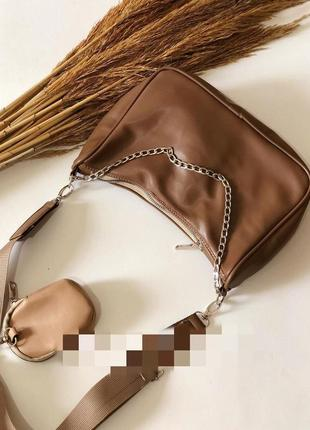 Коричневая сумка через плечо сумочка клатч кросс боди багет 2в1