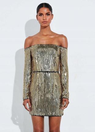 Платье с открытыми плечами в пайетки peace+love