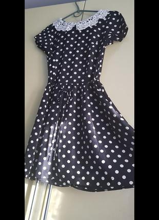 Романтичне коротке плаття в горошок віскоза dorothy perkins ажурний комір приталене горох