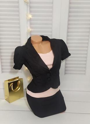 Пиджак жакет с коротким рукавом чёрный, s/m