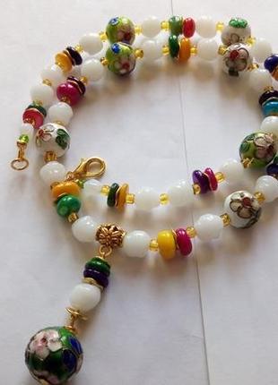 Ожерелье-бусы с подвеской , клуазоне , стекло лэмпворк. италия