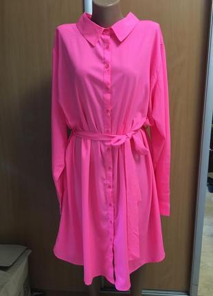 Яркое платье-рубашка туника большой размер 22