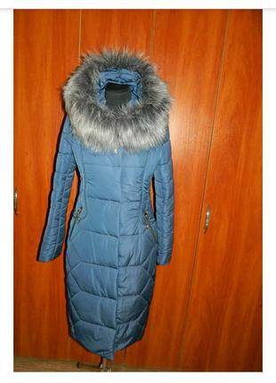 Новый женский зимний пуховик синий с мехом размер 44