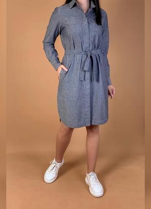 Джинсовое платье рубашка миди под пояс jan machenhauer