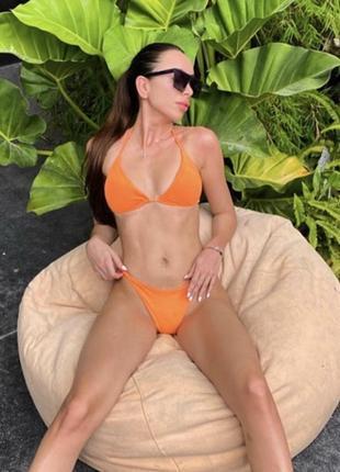 Яркий оранжевый купальник шторка🧡