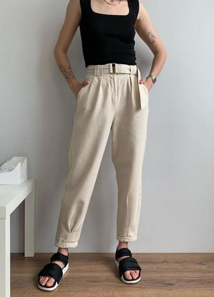 Женские бежевые джинсы штаны слоучи с поясом