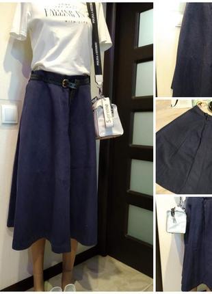 Плотная джинсовая юбка трапеция макси с карманами
