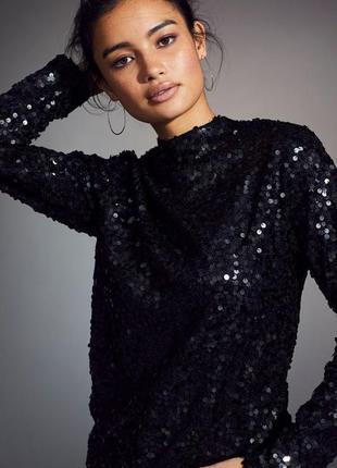 Топ свитер в пайетки черная блуза, длинный рукав