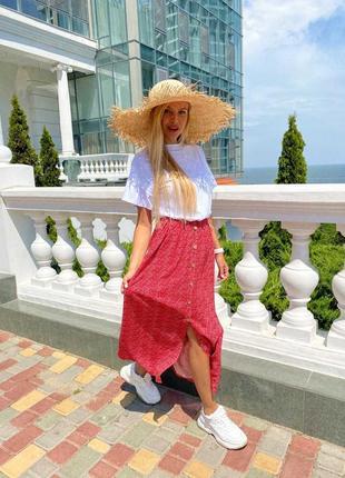 Летняя легкая юбка миди с пуговицами