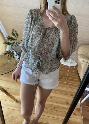 Шёлковая объёмная блузка zara
