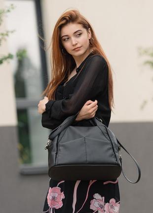 Жіноча чорна вмістка чорна сумка для спортзалу
