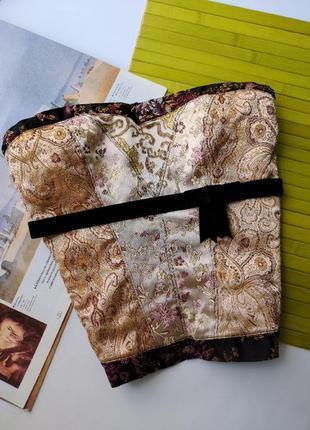 Шикарный винтажный корсет с вышивкой золото сеточка бархат