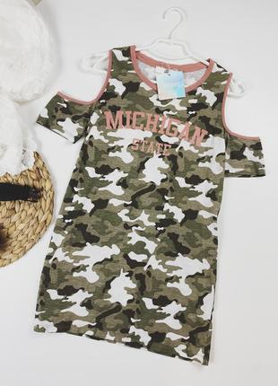 Удлинённая футболка платье камуфляж
