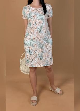Платье футляр льняное  лён цветочный принт esmara