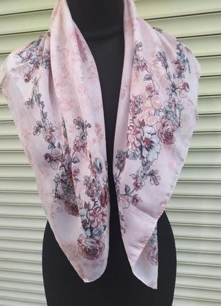 Небольшой натуральный платок розовый серый турция
