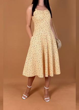 Платье желтое миди mango