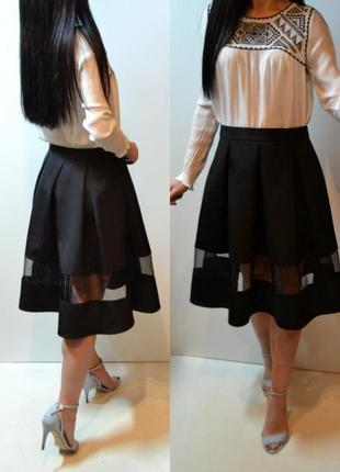 Фактурная юбка миди со складами солнце клеш с прозрачной вставкой