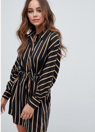 Платье рубашка в полоску с поясом boohoo p. s-m