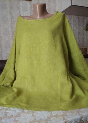 Блузка бохо, лен, объем, рукав 3/4. francesca bettini