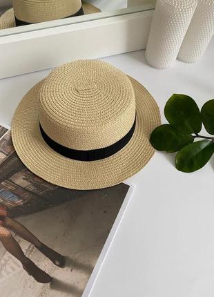 Женская летняя соломенная шляпа канотье бежевая