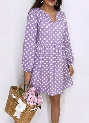 Жіноче трендове літнє плаття в горошок розмір