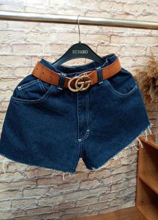 Джинсовые шорты, плотный джинс, шорты клёш