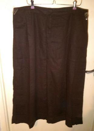 Льняная-лён-вискоза,натуральная,длинная юбка-трапеция с карманами,большого размера