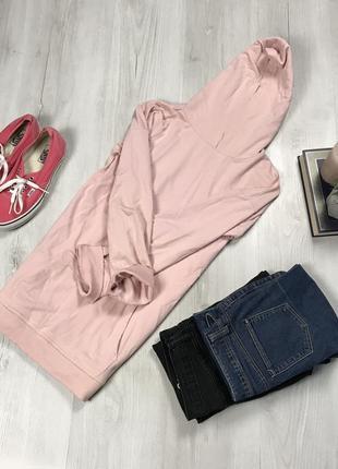 N8 худи tu удлиненное розовое пудровое длинное кофта женская пудровая