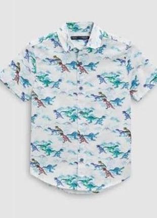 Рубашка с динозаврами next 4-5л