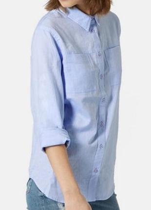 Next голубая котоновая рубашка, сорочка, блузка, оверсайз, бойфренд, прямая