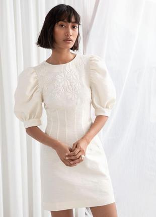 Платье свадебное с объёмными рукавами и вышивкой & other stories