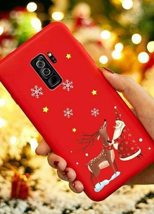 Матовый силиконовый чехол для samsung galaxy s9 снежная ночь новогодний олень
