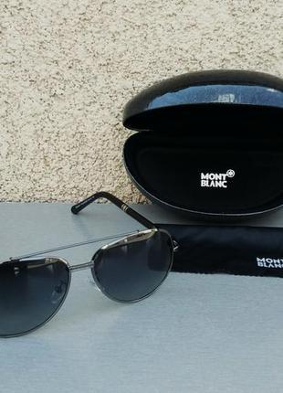 Montblanc очки капли мужские солнцезащитные черные в серебре поляризированые