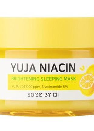 Ночная выравнивающая тон маска для лица some by mi yuja niacin brightening с ниацинамидом