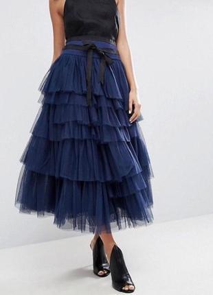 Ярусная юбка-пачка миди/макси из тюля с ленточным поясом asos