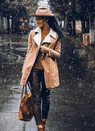 Демисезонная замшевая дубленка пальто косуха