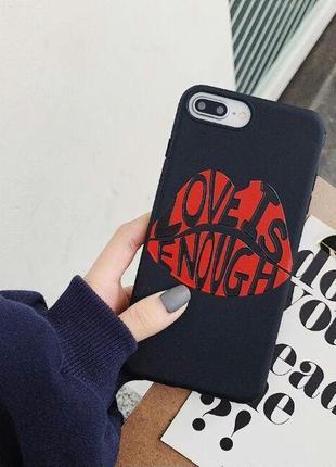 """Стильный чехол с губами и надписью """"love is enough"""" на айфон 7, айфон 8 iphone 7, iphone 8"""