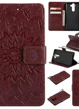 Кожаный чехол-книжка трансформер коричневого цвета с узорами для huawei p7
