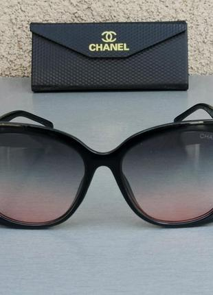 Chanel очки женские солнцезащитные черные с сине розовым градиентом