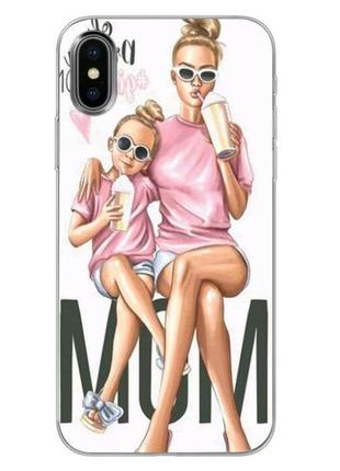 Классный яркий чехол мама и дочка на айфон 7+ iphone 7+