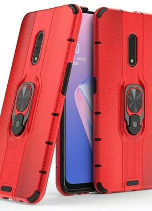 Чехол-бампер на oneplus 7 pro с подставкой магнитным держателем красного цвета