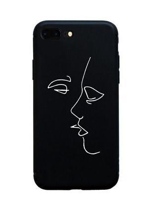 Стильный черно-белый чехол с лицом арт на айфон 7+ iphone 7+