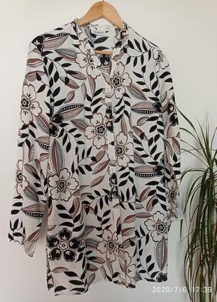 Блузка туника кардиган лен льяная цветочный принт рубашка