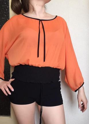 Шифоновая блузка яркая блуза оранжевая кофточка летнее пончо блузочка