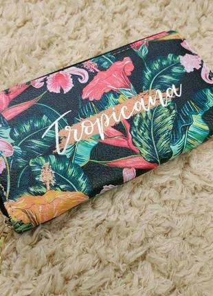 Кошелек тропический гавайский стиль с пальмовыми листьями и цветами