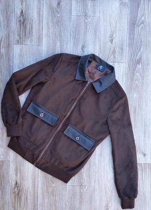 Стильная куртка-бомбер италия ac italy замша шерсть